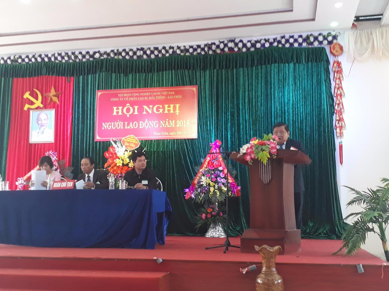 Đ/c Nguyễn Trường Thọ - Phó Tổng Giám đốc Công ty TNHH MTV Cao su Dầu Tiếng – Chủ tịch HĐQT Công ty cổ phần cao su Dầu Tiếng Lai Châu phát biểu tại hội nghị